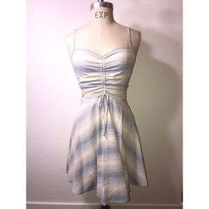 Off-white & blue stripped ruched dress